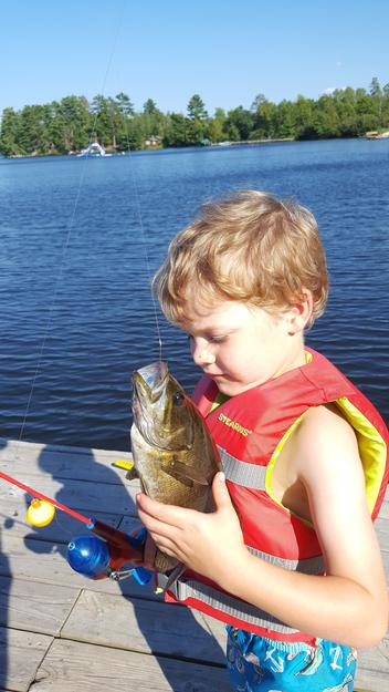 What's in there? Jaxon caught this small mouth bass using a worm and a jig on Lake Vermilion