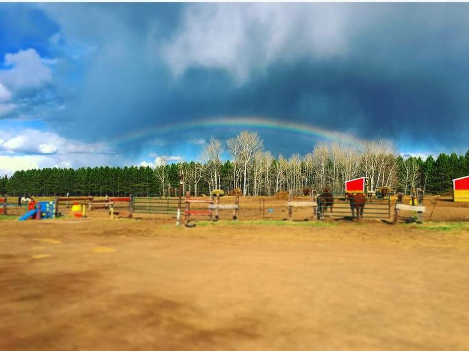 Rainbow over RNR Performance Horses in Cloquet on Easter Sunday