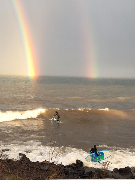 Surfing a Rainbow at Lester River on Thursday