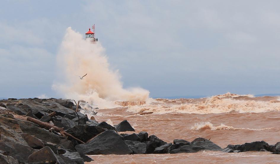 Amazing waves at Wisconsin Point lighthouse on April 24