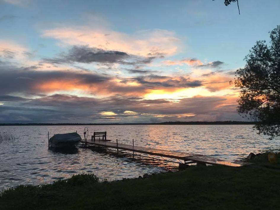Colorful sunset after a cloudy day at Grand Lake