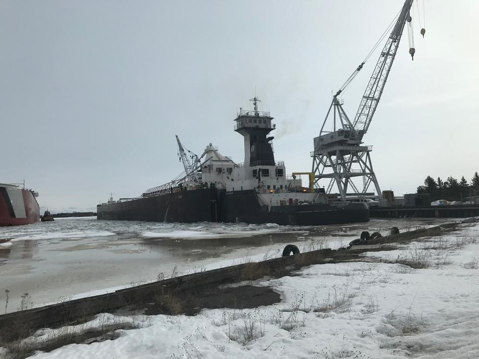 The Erie Trader/Clyde S. VanEnkevort waits to kick off the shipping season