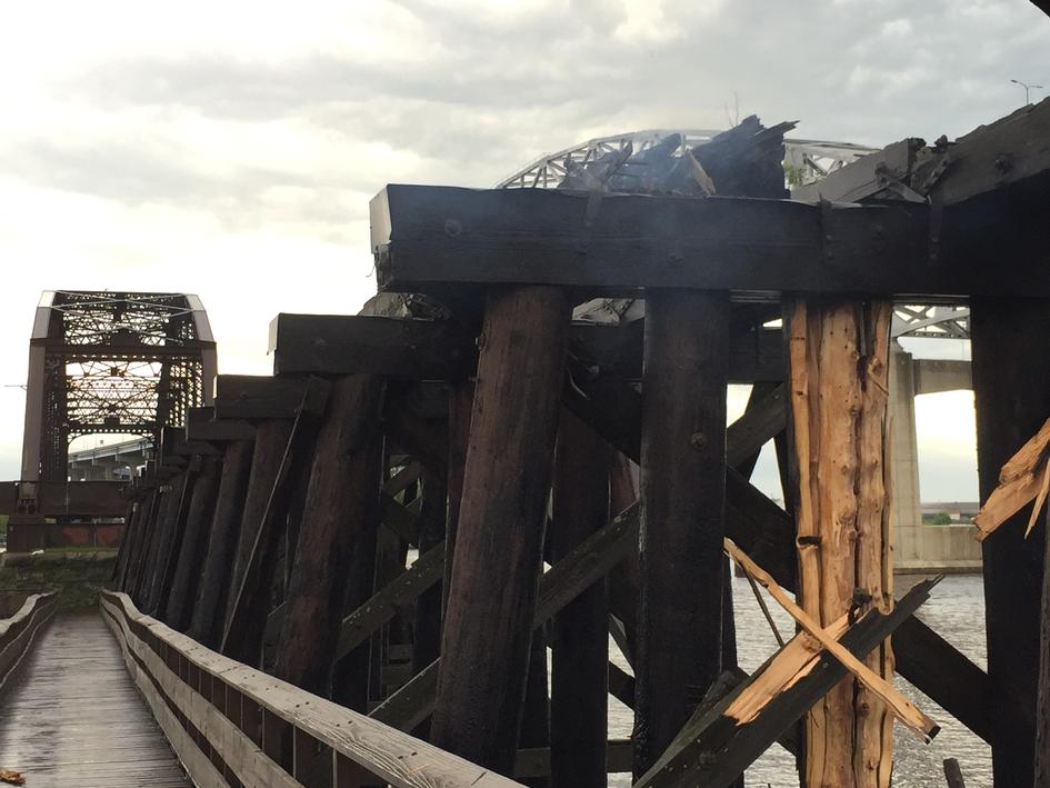 Lightning strike on the old wood railroad bridge, Friday