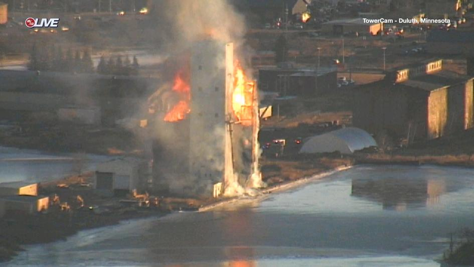 Globe Elevator Fire caught on WDIO TowerCam