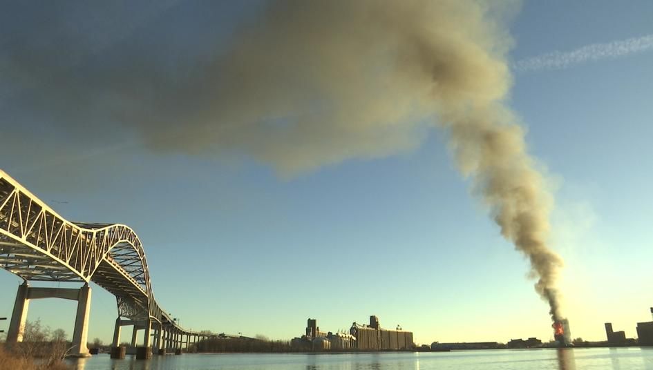 Plume of smoke from Fire at old Globe grain Elevator, Superior