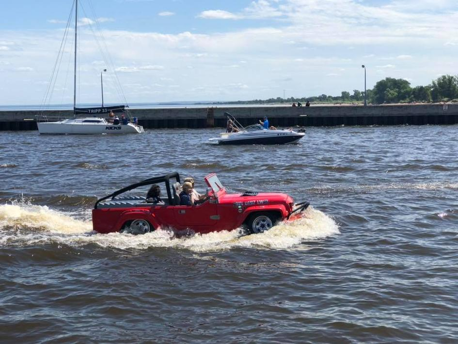 Off road riding, an Amphibious Vehicle during the Parade of Sail