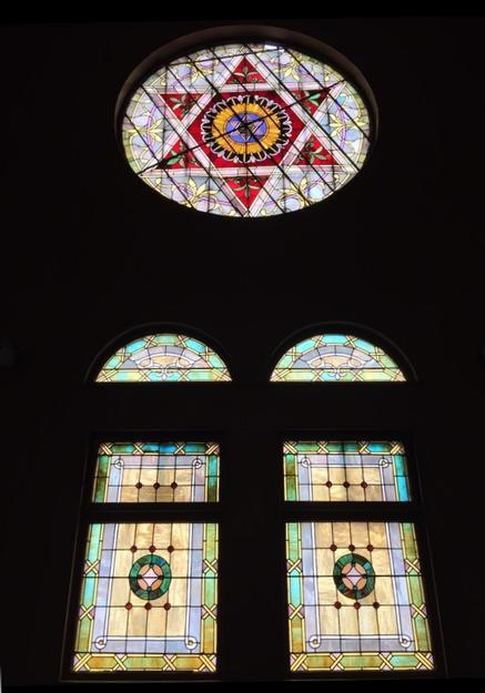 The stain glass inside
