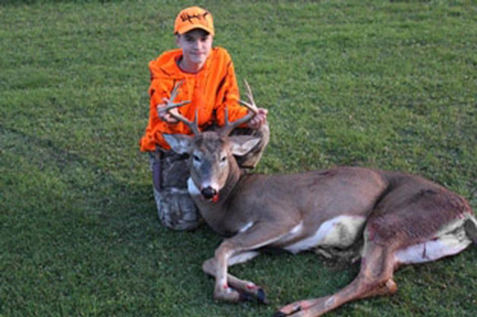 And then Owen's brother Logan, 14, shot a beautiful 8 point buck on Friday night.