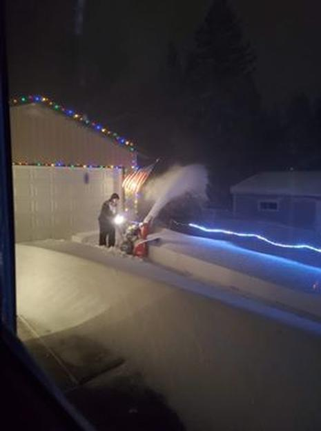 Snow blowing in Proctor Saturday night