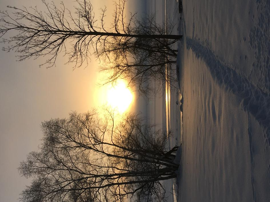 Sunrise over Chequamegon Bay on Jan. 7