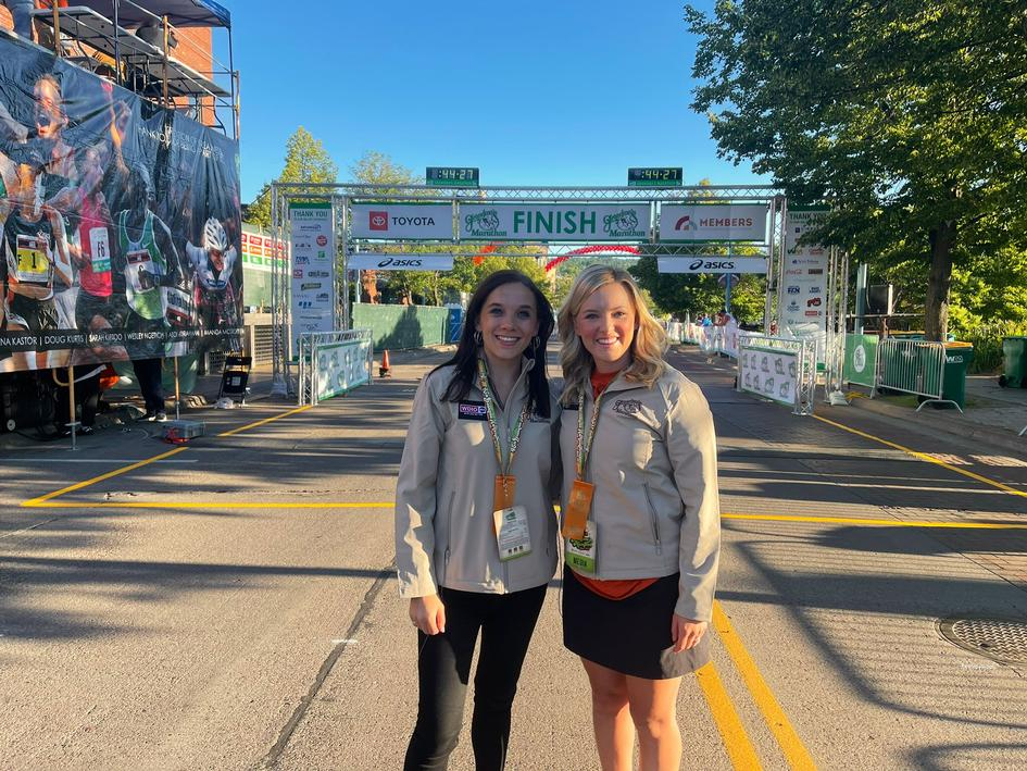 WDIO Sports' Chelsie Brown and Alicia Tipcke at the finish before the race
