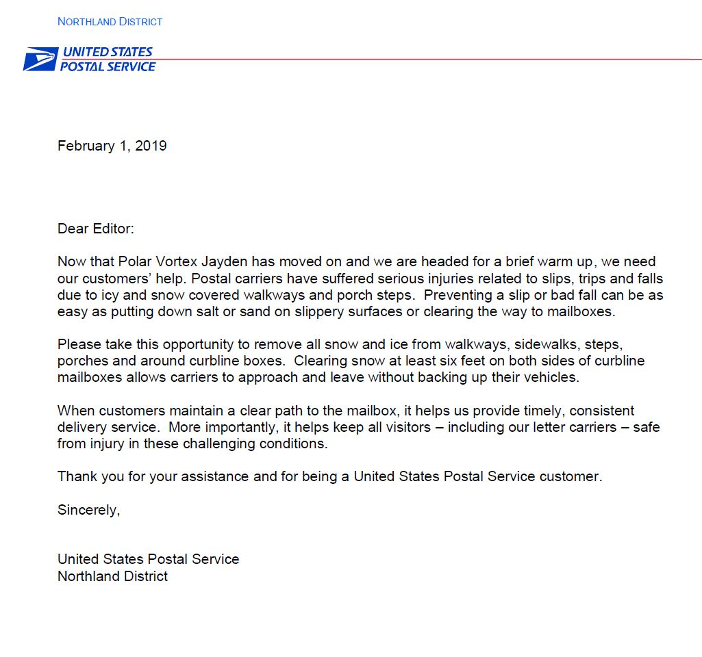 Letter from Postal Service