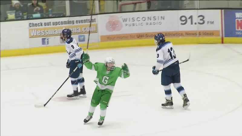 Greenway boys hockey celebrates after scoring a goal.