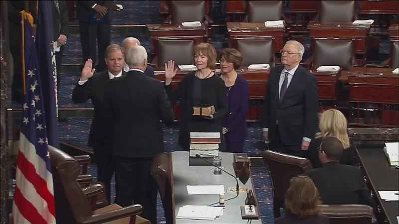Tina Smith was sworn in during a Wednesday ceremony at the Capitol.