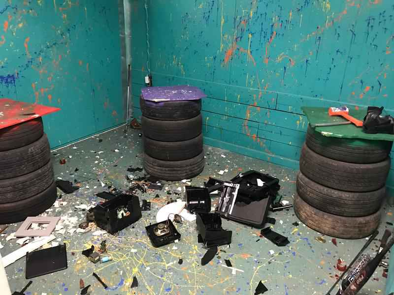 The aftermath of the Eyewitness News team's rage room experience.