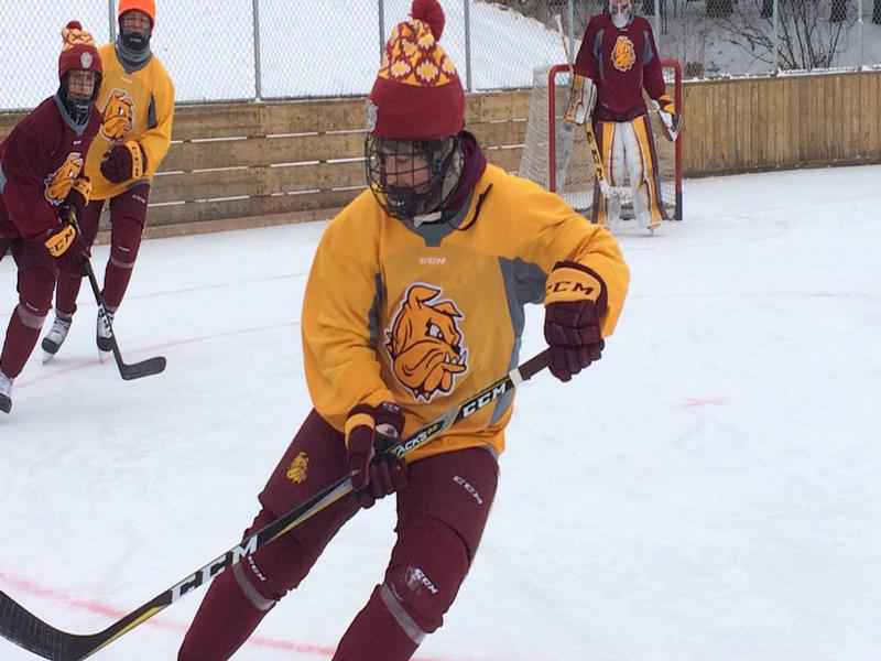 The UMD Men's Hockey Team held an outdoor practice on Tuesday at the Piedmont Heights Rink.
