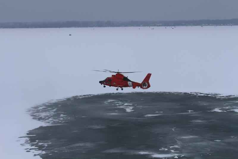 Five fishermen had to be rescued from an ice floe on western Lake Erie on Friday night.