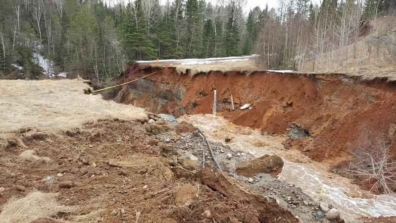 Washout near Biwabik on April 24