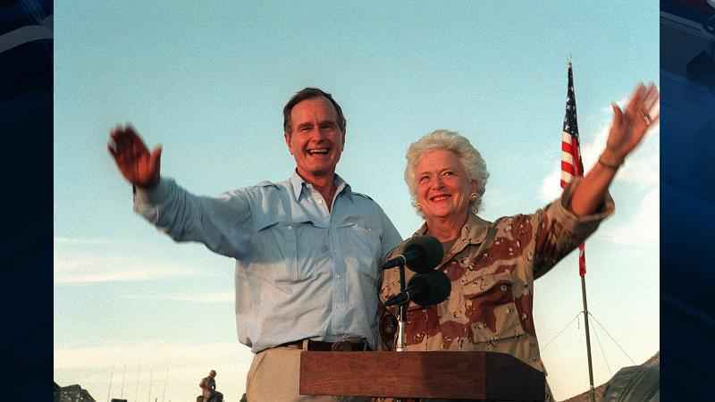 President George H.W. Bush,seen with Barbara Bush in this 1990 photo, has been admitted to a hospital.