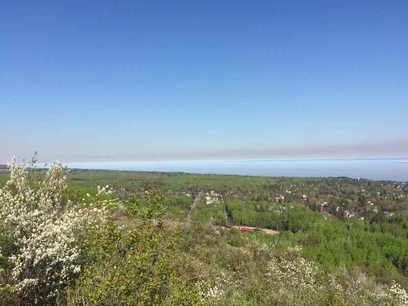 The smoke from a prescribed burn on the Chequamegon-Nicolet National Forest in northern Wisconsin could be seen from Hawks Ridge in Duluth Sunday afternoon.