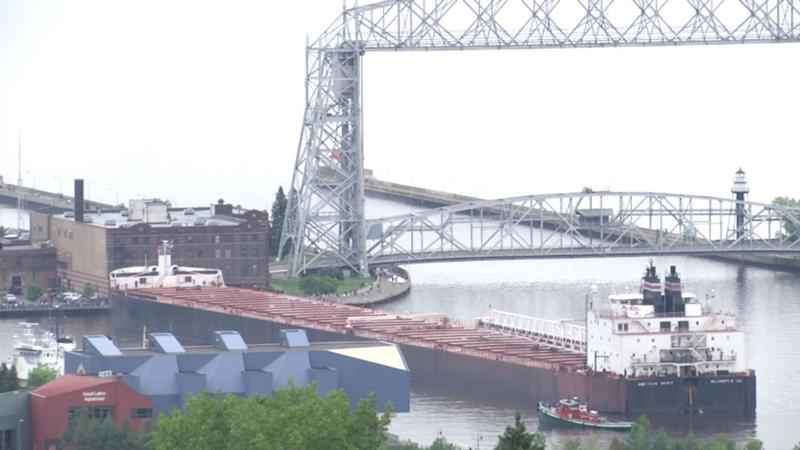 The 990-foot motor vessel American Spirit, which ran aground in the Duluth Harbor on Sunday afternoon, has since been removed.