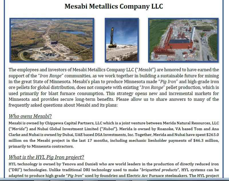 Tom Clarke has put out an update about his companies, ERP Iron Ore and Mesabi Metallics.