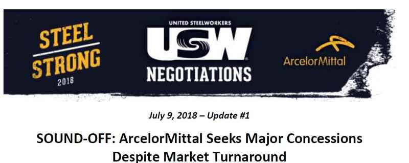 A bargaining update from the USW about ArcelorMittal.