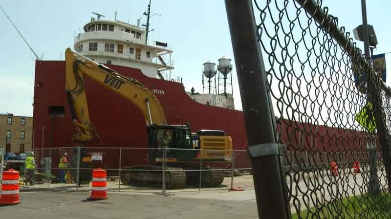 There are two projects happening by the William A. Irvin in the Minnesota Slip.