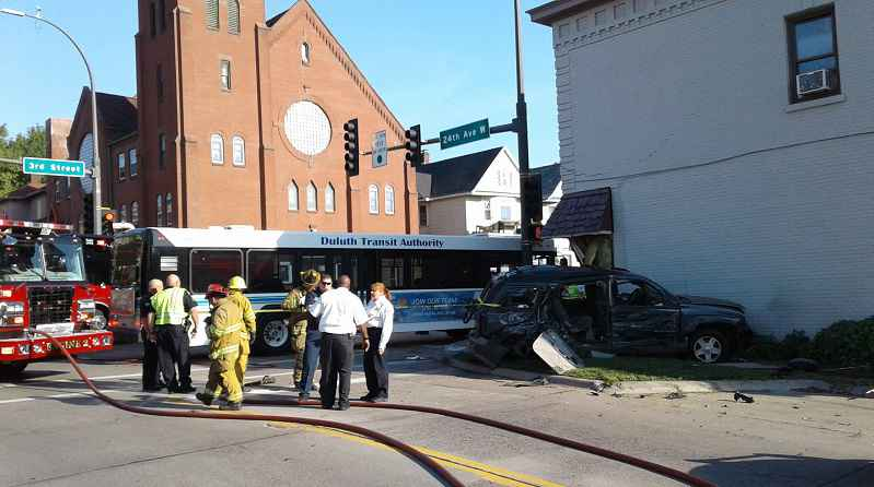 An SUV collided with a bus Tuesday morning in Duluth's Lincoln Park neighborhood.