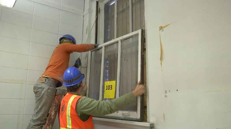 The Armory is getting several windows restored with the help of the The Northern Bedrock Historic Preservation Corps.