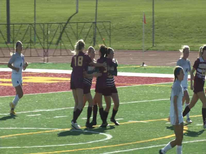 UMD celebrates Nan Glinsek's goal in the second half vs Sioux Falls on Sunday.