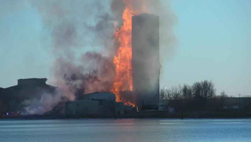 A fire at the old Globe Elevator in Superior sent flames more than 150 feet into the air.