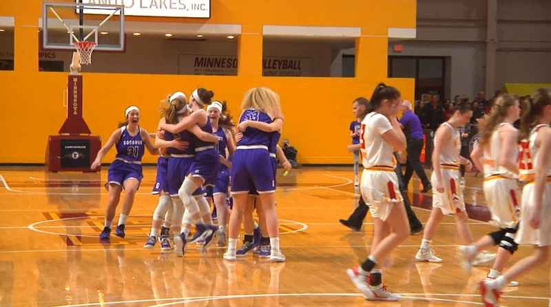 Goodhue celebrates after a last second shot for Mountain Iron-Buhl didn't connect, giving the Wildcats a 50-48 win in the State A Quarterfinals.