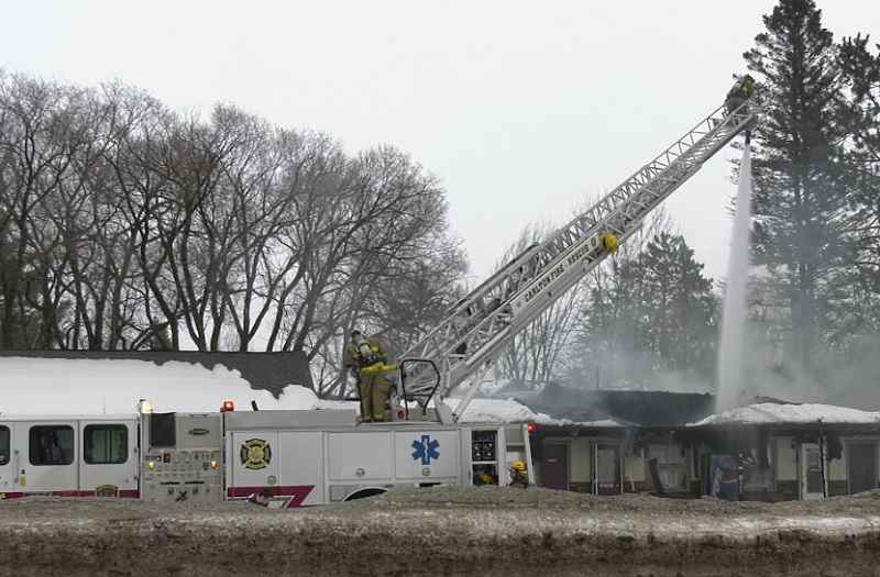 Fire damages the Moose Lake Motel on Wednesday morning.