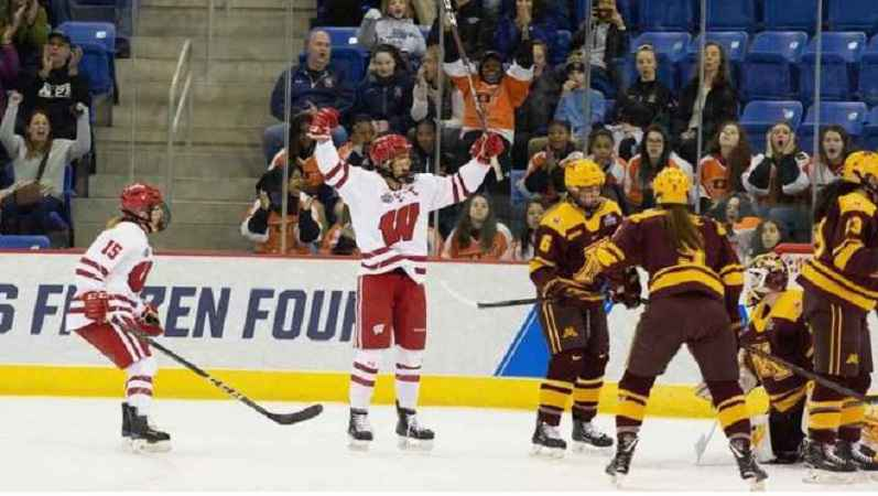 Wisconsin players celebrate a goal in their 2-0 win over Minnesota in the 2019 NCAA Women's Hockey National Championship game.