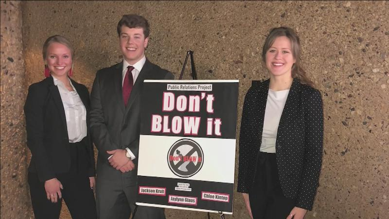 Students in 'DECA' at Superior High School are hoping to educate people about the dangers of youth vaping. They're taking their 'Don't Blow It' campaign to a national competition in Florida.