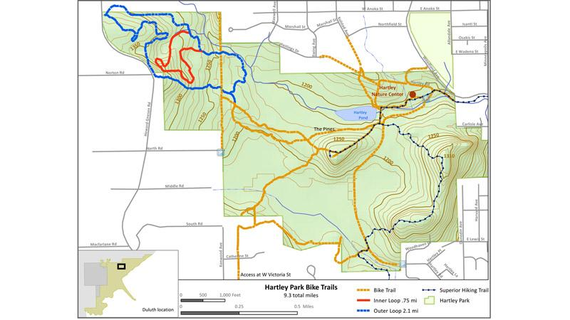 The Hartley Trail System provides roughly nine miles of intermediate mountain biking trails.