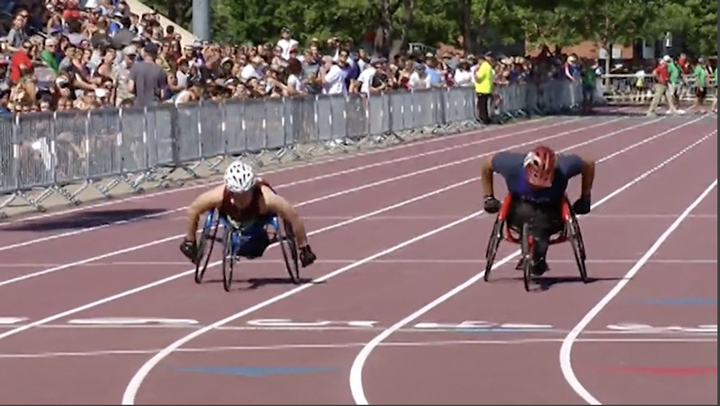 Duluth Denfeld freshman Blake Eaton finished second in the 800 meter wheelchair race.