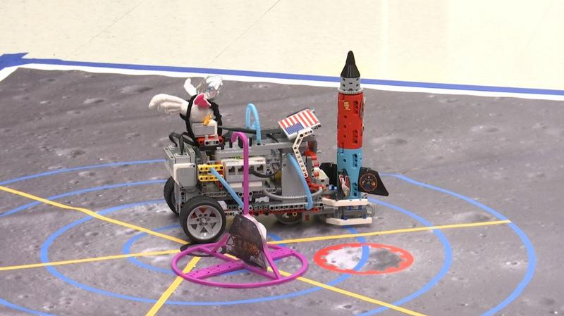 A chicken sits atop the Robo Dweebs' robot. It's something of a mascot for the middle schoolers.