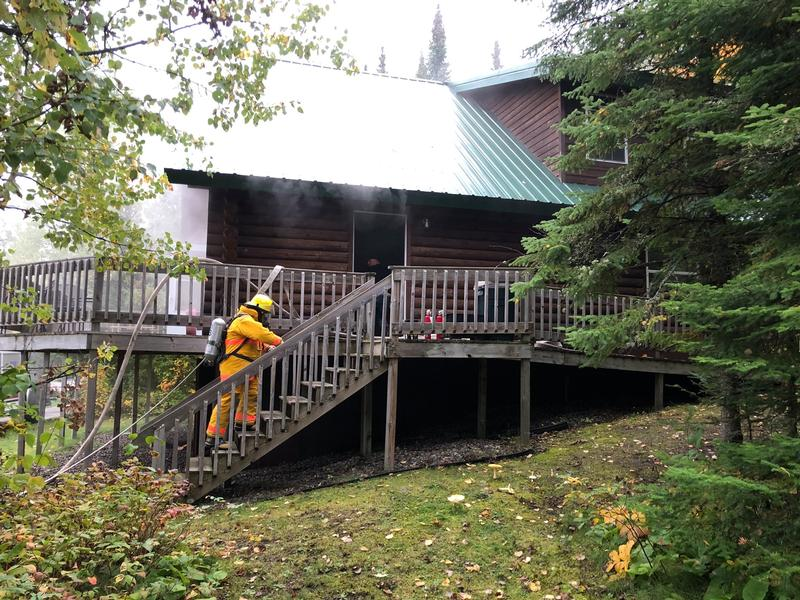 A two-story cabin at Pehrson Lodge caught fire Thursday morning.