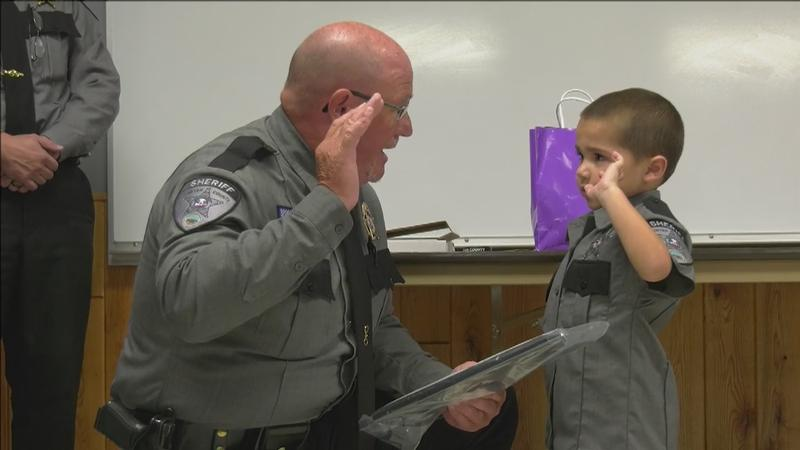 Five-year-old Nolan Bearheart of Hayward was granted the wish of being a police officer in the Sawyer County Sheriff's Department.
