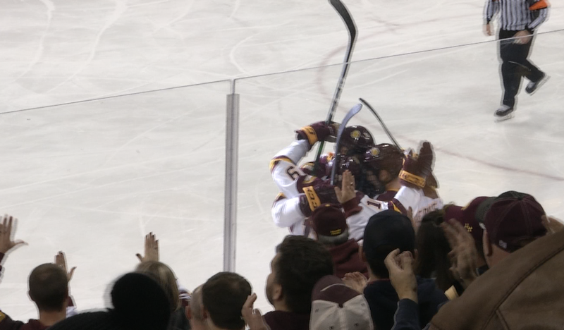 Justin Richards scored shorthanded for UMD to put them up 1-0 over UMass Lowell in the second period at AMSOIL Arena.