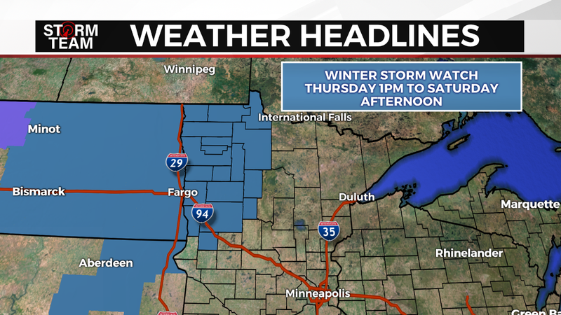 Winter Storm Watch as of noon on October 9, 2019