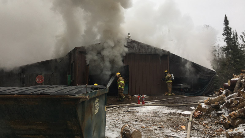 A fire Monday morning kept fire fighters busy at Elbow Lake Lodge near Cook.