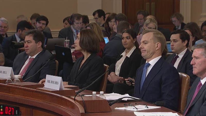 Dr. Fiona Hill and David Holmes testified before the House Intelligence Committee on Thursday.