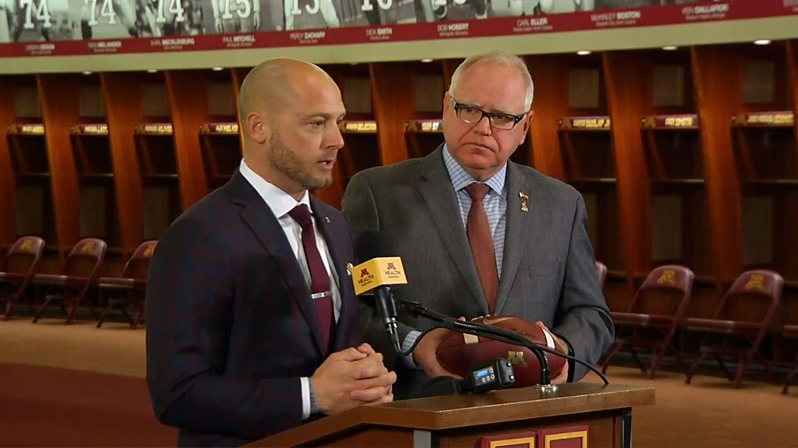 P.J. Fleck and Minnesota Governor Tim Walz