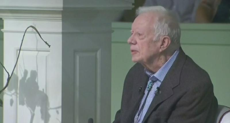Former U.S. President Jimmy Carter was admitted to a hospital on Monday evening for a procedure to relieve pressure on his brain, caused by bleeding due to his recent falls, his spokeswoman said.