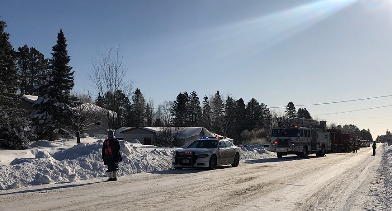 Crews worked on a house fire in Esko on a bitterly cold Wednesday morning.