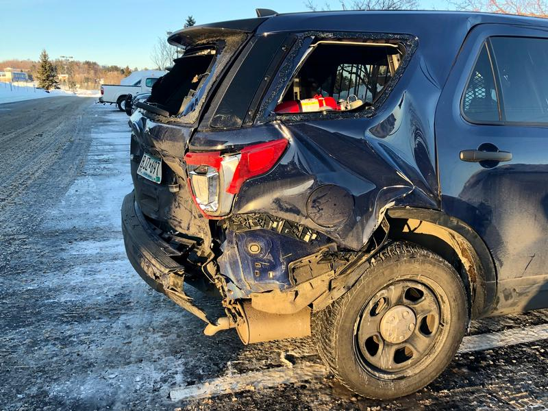 Trooper Sean Hollencamp was outside of his unmarked State Patrol vehicle when a driver lost control and hit the rear passenger side.