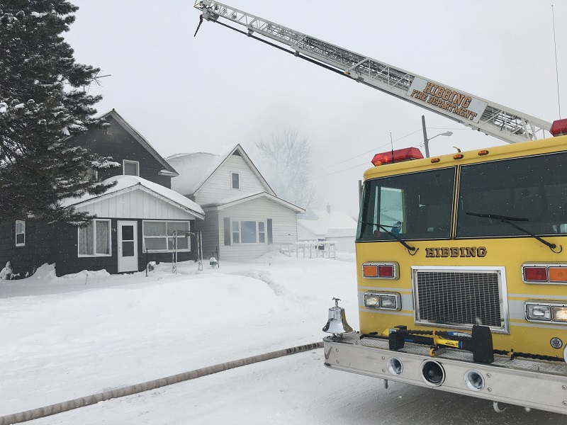 Two houses in Chisholm were damaged in a fire on Saturday afternoon.